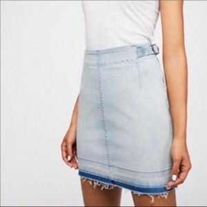 Free People Denim Skirt w/ a unfinished Hem - 30